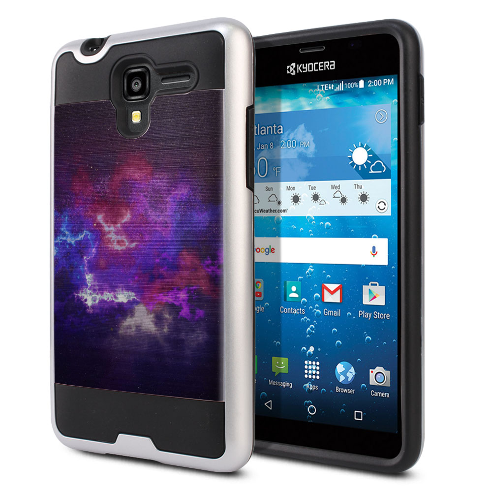 Kyocera Hydro View C6742 Hybrid Fusion Brushed Purple Nebula Space Protector Cover Case
