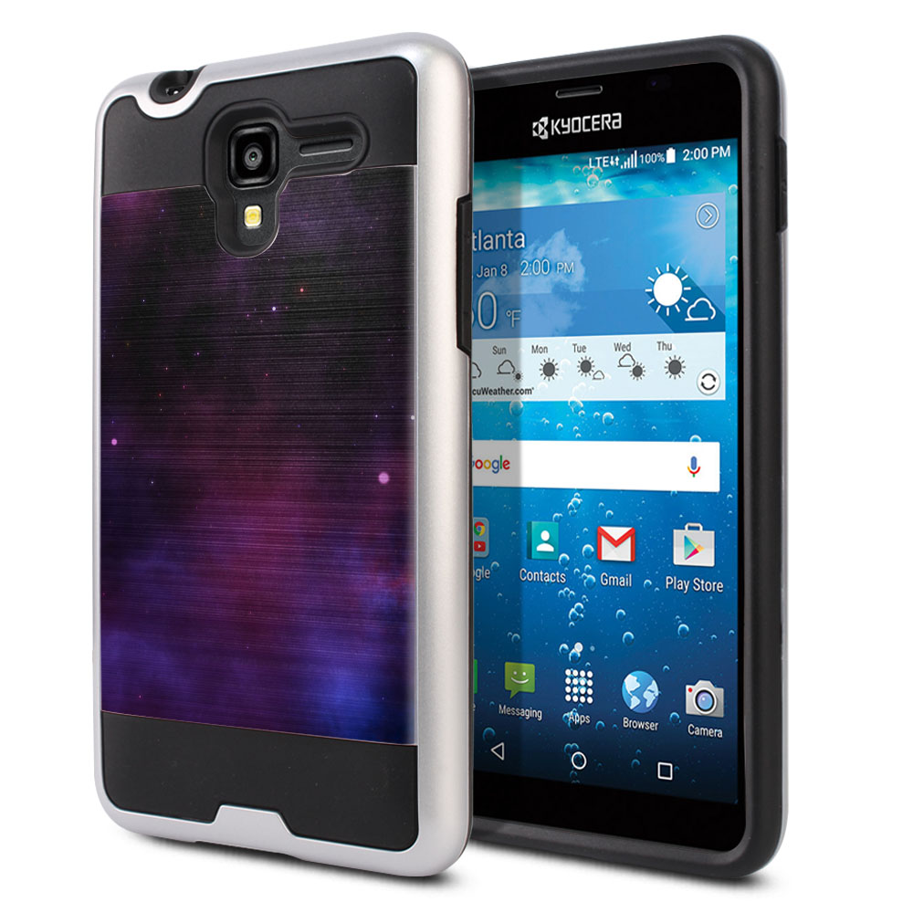 Kyocera Hydro View C6742 Hybrid Fusion Brushed Purple Space Stars Protector Cover Case