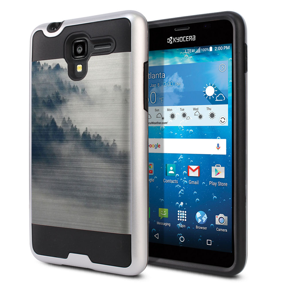 Kyocera Hydro View C6742 Hybrid Fusion Brushed Winter Trees Protector Cover Case