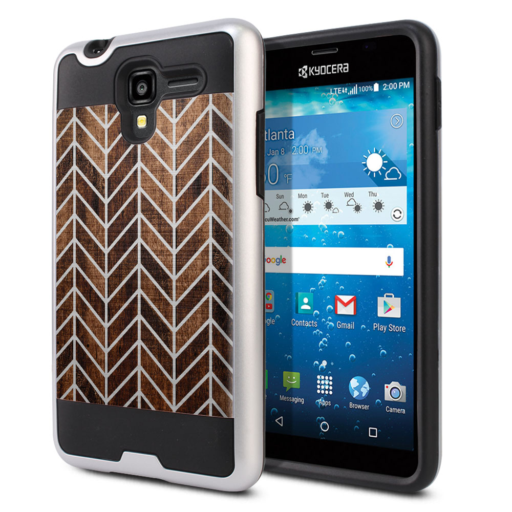Kyocera Hydro View C6742 Hybrid Fusion Brushed Modern Chevron Wood Protector Cover Case