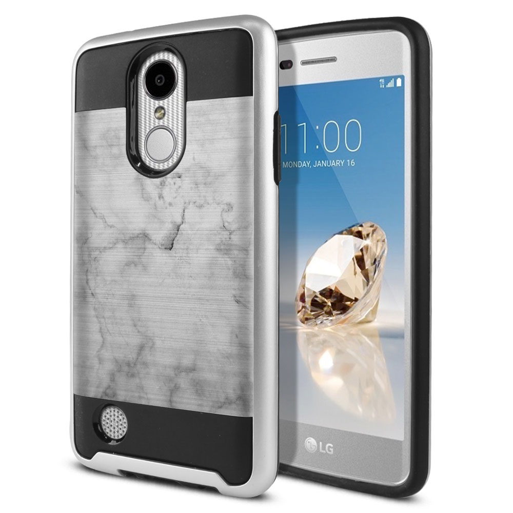 LG Aristo MS210 LV3 K8 (2017)/ Phoenix 3 M150 Hybrid Fusion Brushed Grey Cloudy Marble Protector Cover Case