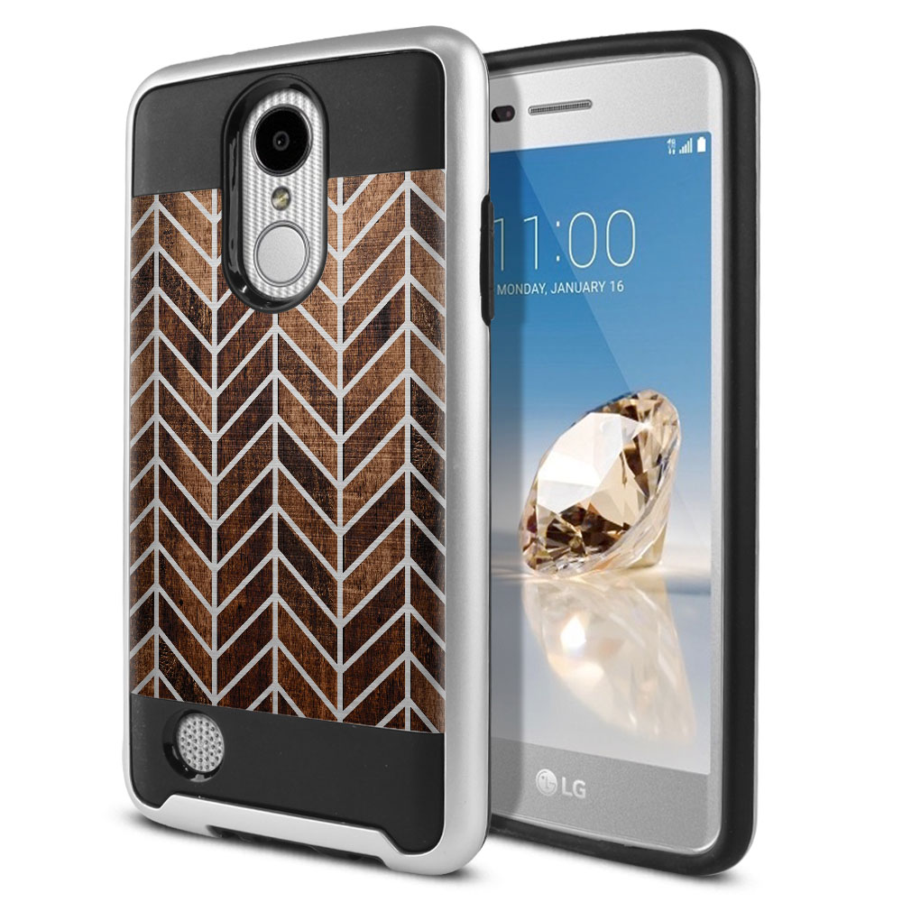 LG Aristo MS210 LV3 K8 (2017)/ Phoenix 3 M150 Hybrid Fusion Brushed Modern Chevron Wood Protector Cover Case