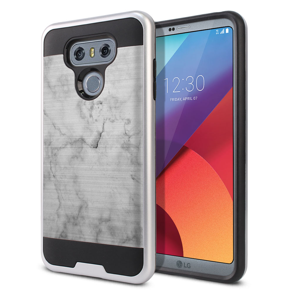 LG G6 H870 Hybrid Fusion Brushed Grey Cloudy Marble Protector Cover Case