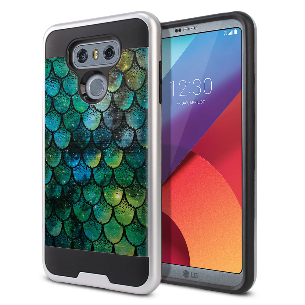 LG G6 H870 Hybrid Fusion Brushed Green Mermaid Scales Protector Cover Case