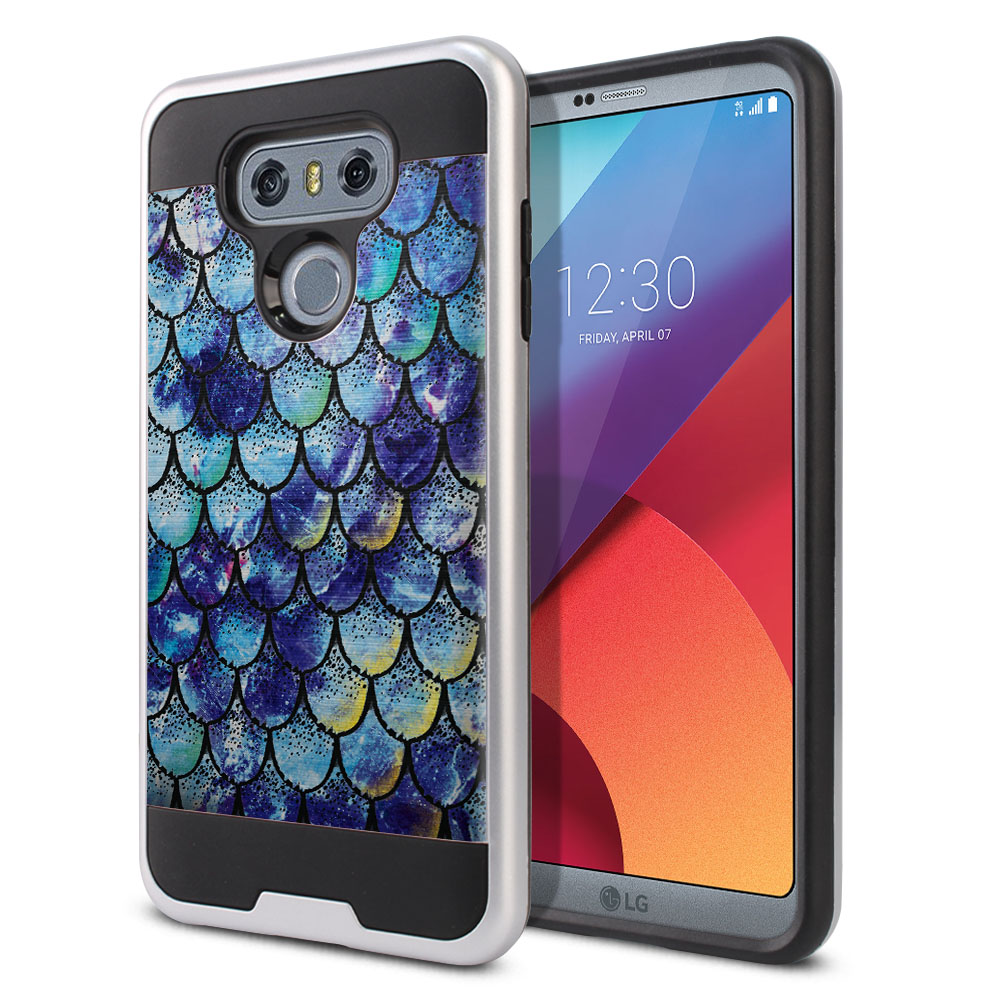 LG G6 H870 Hybrid Fusion Brushed Purple Mermaid Scales Protector Cover Case