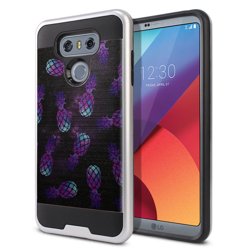 LG G6 H870 Hybrid Fusion Brushed Purple Pineapples Galaxy Protector Cover Case