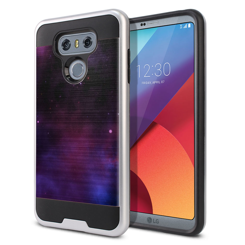 LG G6 H870 Hybrid Fusion Brushed Purple Space Stars Protector Cover Case