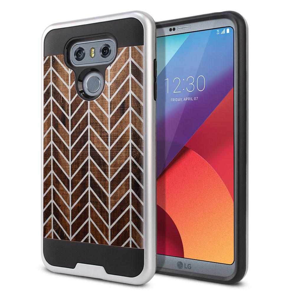 LG G6 H870 Hybrid Fusion Brushed Modern Chevron Wood Protector Cover Case