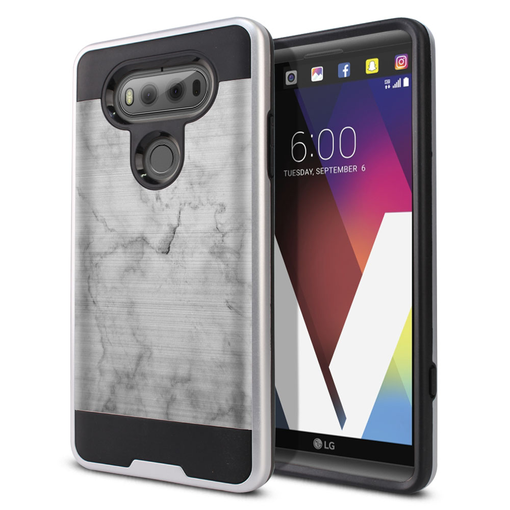LG V20 VS995 H990 LS997 H910 H918 US996 Hybrid Fusion Brushed Grey Cloudy Marble Protector Cover Case