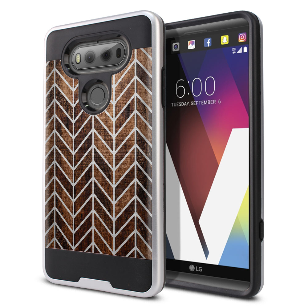 LG V20 VS995 H990 LS997 H910 H918 US996 Hybrid Fusion Brushed Modern Chevron Wood Protector Cover Case