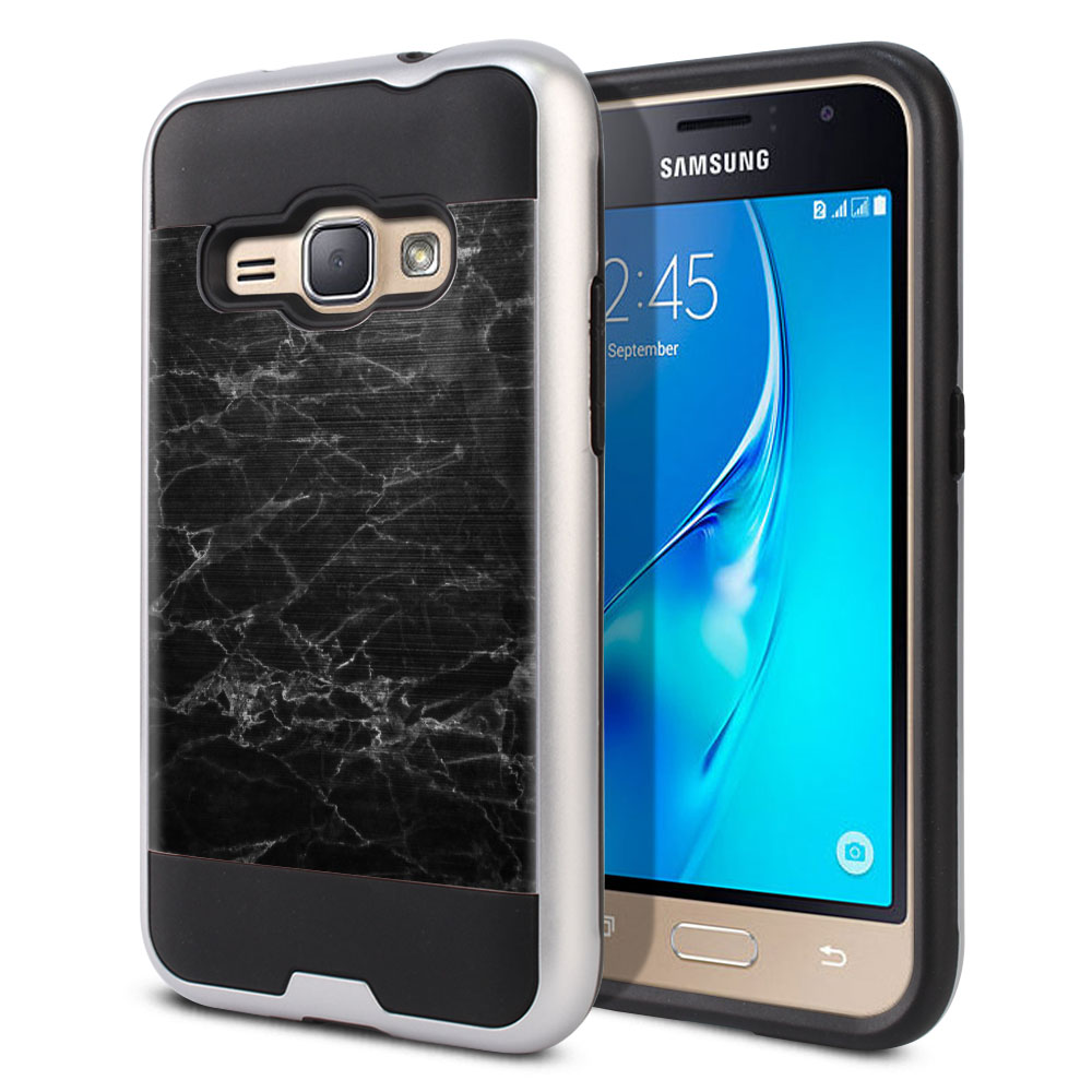 Samsung Galaxy J1 J120 2nd Gen 2016 Hybrid Fusion Brushed Black Stone Marble Protector Cover Case