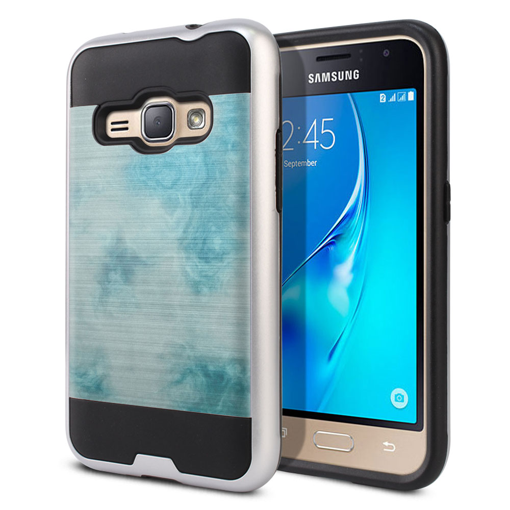 Samsung Galaxy J1 J120 2nd Gen 2016 Hybrid Fusion Brushed Blue Cloudy Marble Protector Cover Case