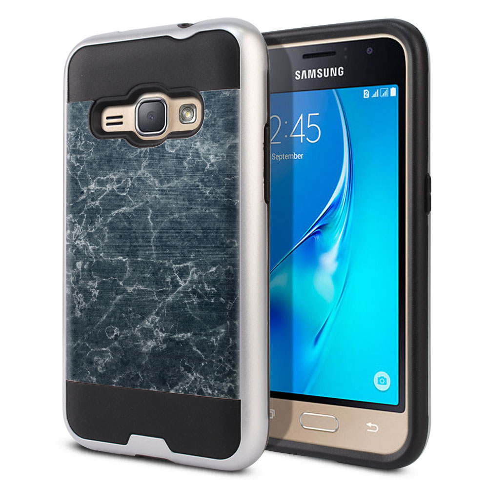 Samsung Galaxy J1 J120 2nd Gen 2016 Hybrid Fusion Brushed Blue Stone Marble Protector Cover Case