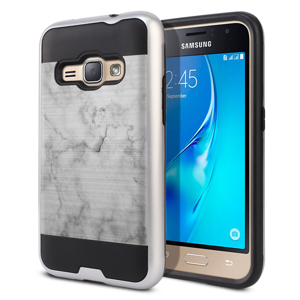 Samsung Galaxy J1 J120 2nd Gen 2016 Hybrid Fusion Brushed Grey Cloudy Marble Protector Cover Case