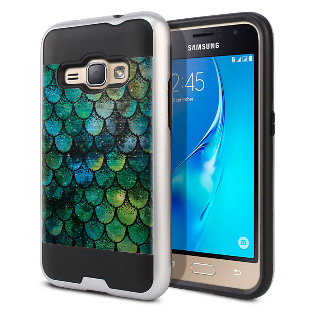 Samsung Galaxy J1 J120 2nd Gen 2016 Hybrid Fusion Brushed Green Mermaid Scales Protector Cover Case