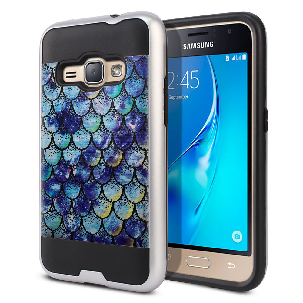 Samsung Galaxy J1 J120 2nd Gen 2016 Hybrid Fusion Brushed Purple Mermaid Scales Protector Cover Case
