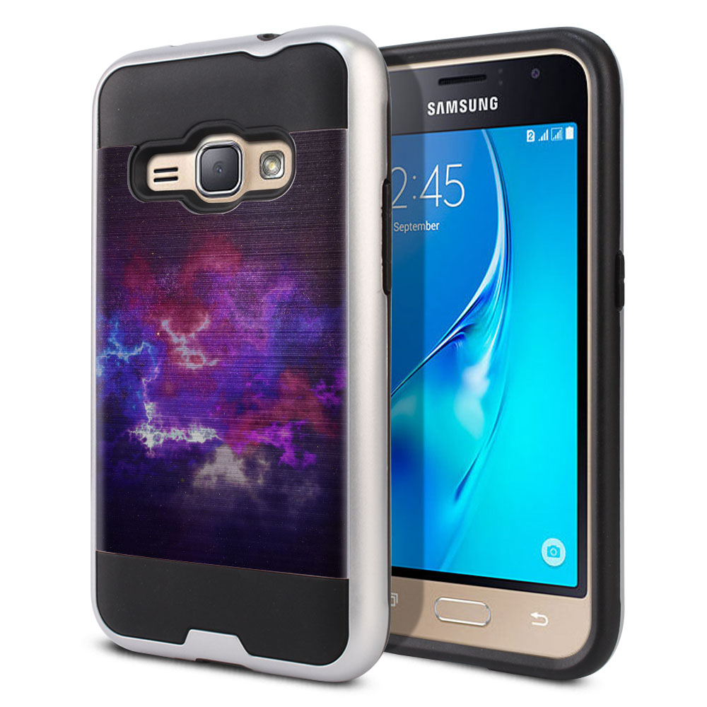 Samsung Galaxy J1 J120 2nd Gen 2016 Hybrid Fusion Brushed Purple Nebula Space Protector Cover Case