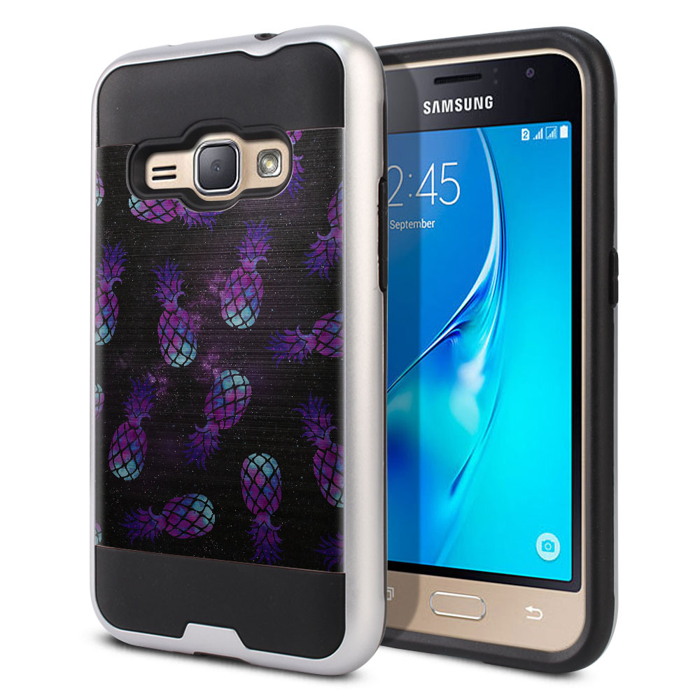 Samsung Galaxy J1 J120 2nd Gen 2016 Hybrid Fusion Brushed Purple Pineapples Galaxy Protector Cover Case