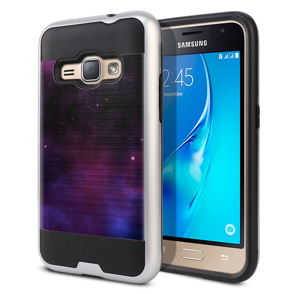 Samsung Galaxy J1 J120 2nd Gen 2016 Hybrid Fusion Brushed Purple Space Stars Protector Cover Case