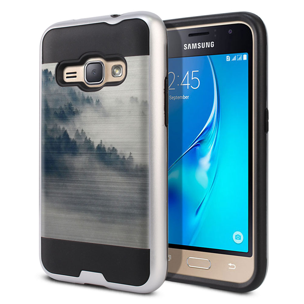 Samsung Galaxy J1 J120 2nd Gen 2016 Hybrid Fusion Brushed Winter Trees Protector Cover Case