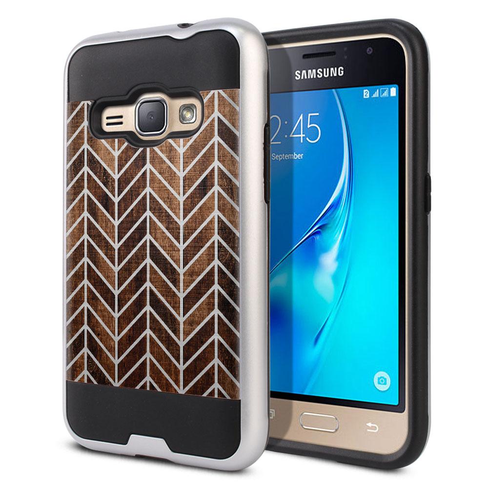 Samsung Galaxy J1 J120 2nd Gen 2016 Hybrid Fusion Brushed Modern Chevron Wood Protector Cover Case