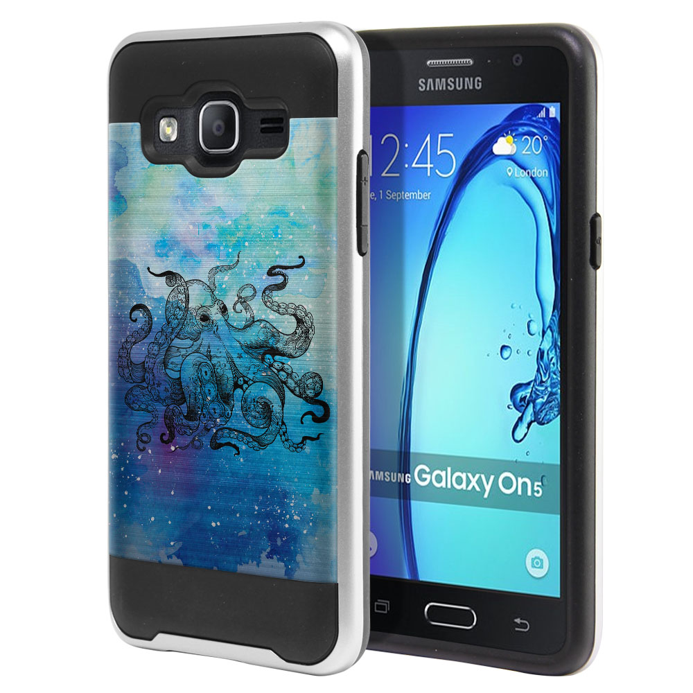 Samsung Galaxy On5 G550 G500 Hybrid Fusion Brushed Blue Water Octopus Protector Cover Case