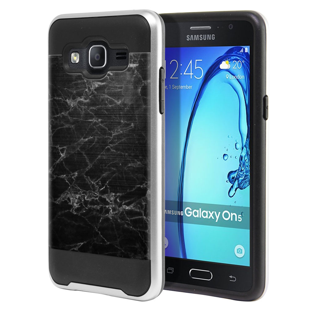 Samsung Galaxy On5 G550 G500 Hybrid Fusion Brushed Black Stone Marble Protector Cover Case