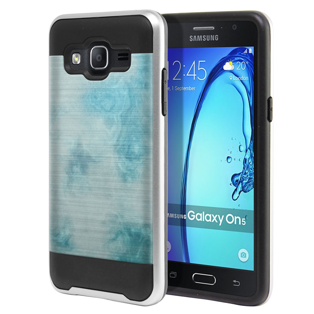 Samsung Galaxy On5 G550 G500 Hybrid Fusion Brushed Blue Cloudy Marble Protector Cover Case