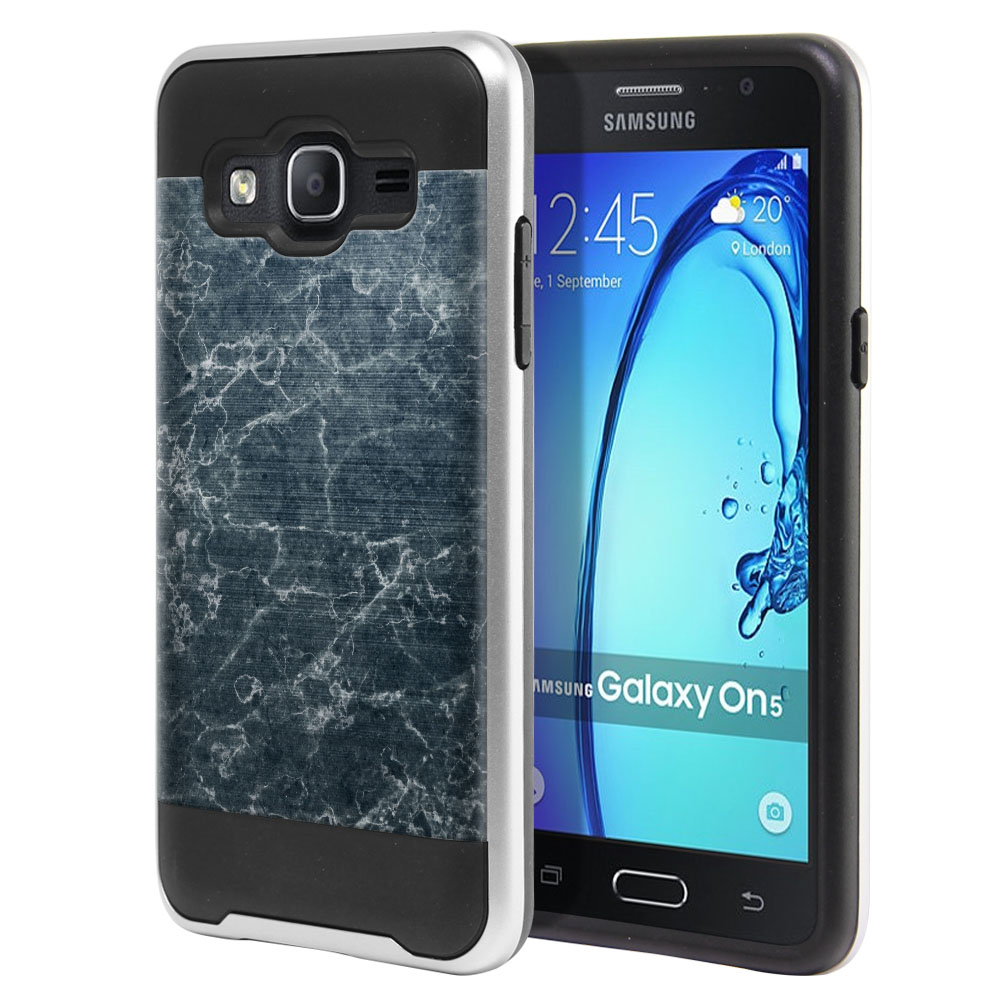 Samsung Galaxy On5 G550 G500 Hybrid Fusion Brushed Blue Stone Marble Protector Cover Case