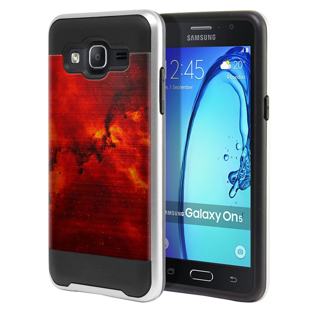 Samsung Galaxy On5 G550 G500 Hybrid Fusion Brushed Fiery Galaxy Protector Cover Case