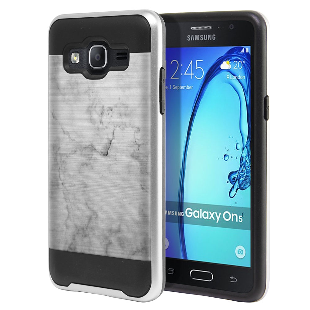 Samsung Galaxy On5 G550 G500 Hybrid Fusion Brushed Grey Cloudy Marble Protector Cover Case