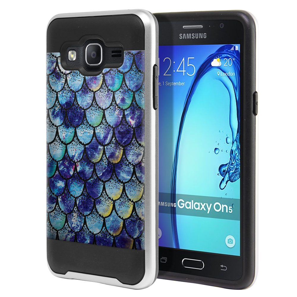 Samsung Galaxy On5 G550 G500 Hybrid Fusion Brushed Purple Mermaid Scales Protector Cover Case