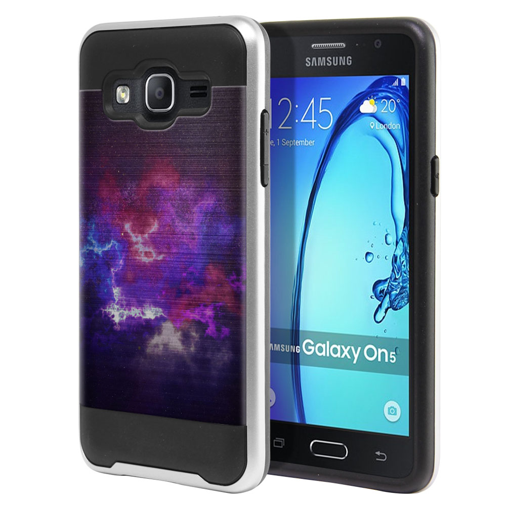 Samsung Galaxy On5 G550 G500 Hybrid Fusion Brushed Purple Nebula Space Protector Cover Case