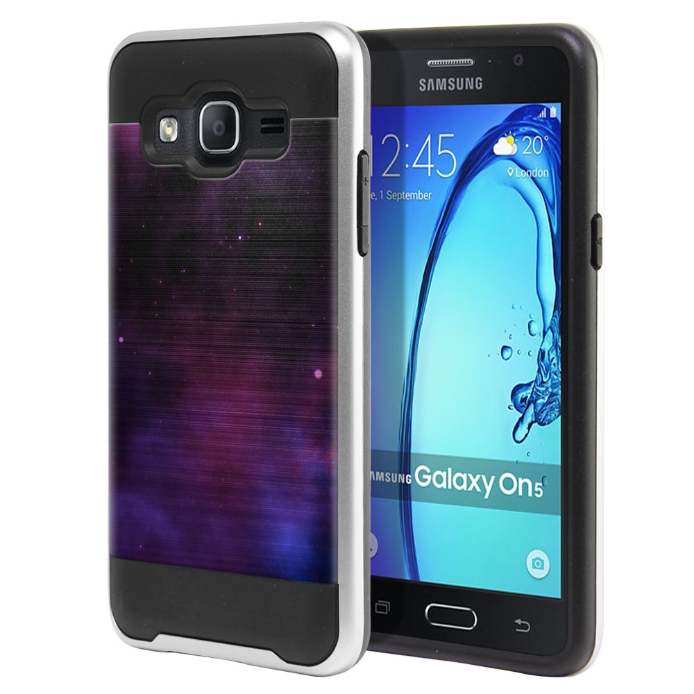Samsung Galaxy On5 G550 G500 Hybrid Fusion Brushed Purple Space Stars Protector Cover Case