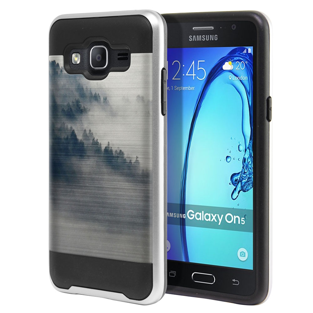 Samsung Galaxy On5 G550 G500 Hybrid Fusion Brushed Winter Trees Protector Cover Case