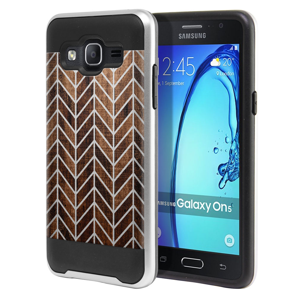 Samsung Galaxy On5 G550 G500 Hybrid Fusion Brushed Modern Chevron Wood Protector Cover Case