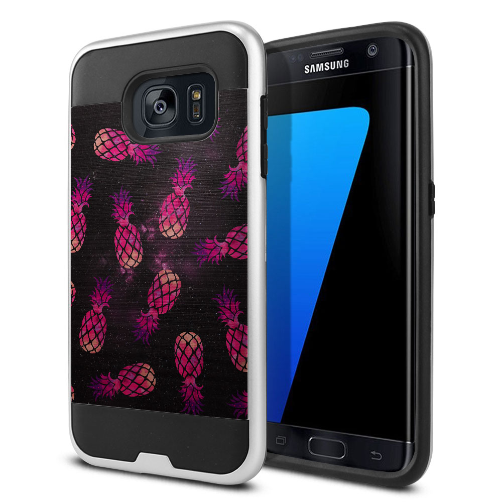 Samsung Galaxy S7 Edge G935 Hybrid Fusion Brushed Hot Pink Pineapple Pattern In Galaxy Protector Cover Case