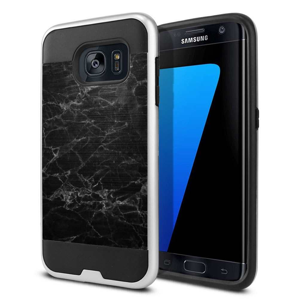 Samsung Galaxy S7 Edge G935 Hybrid Fusion Brushed Black Stone Marble Protector Cover Case