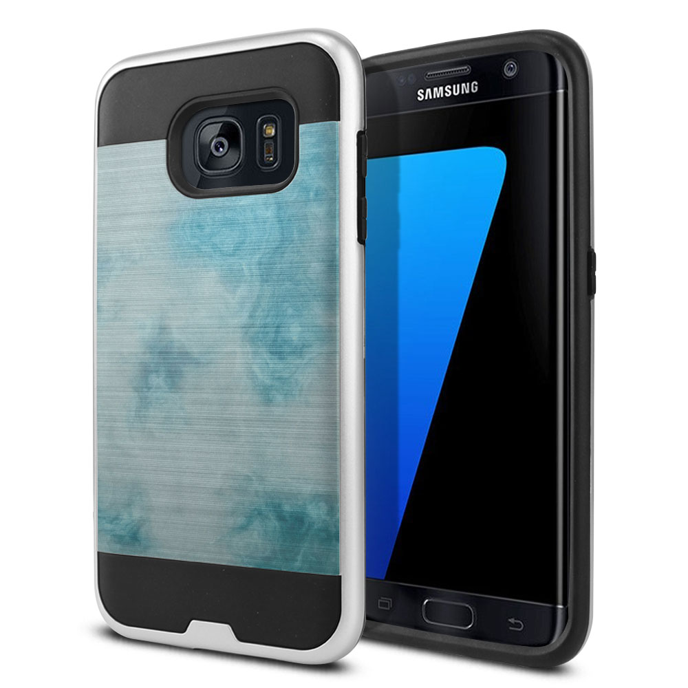 Samsung Galaxy S7 Edge G935 Hybrid Fusion Brushed Blue Cloudy Marble Protector Cover Case