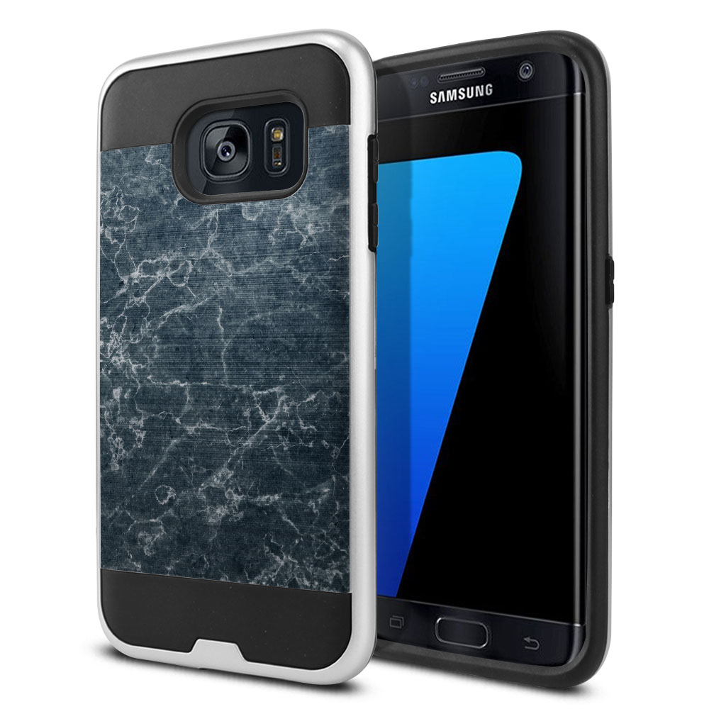 Samsung Galaxy S7 Edge G935 Hybrid Fusion Brushed Blue Stone Marble Protector Cover Case
