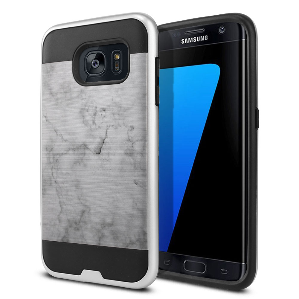 Samsung Galaxy S7 Edge G935 Hybrid Fusion Brushed Grey Cloudy Marble Protector Cover Case