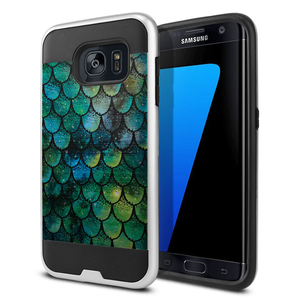 Samsung Galaxy S7 Edge G935 Hybrid Fusion Brushed Green Mermaid Scales Protector Cover Case