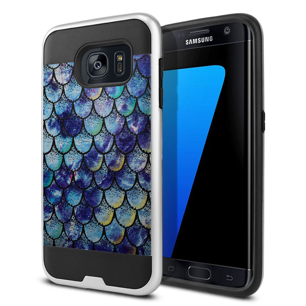 Samsung Galaxy S7 Edge G935 Hybrid Fusion Brushed Purple Mermaid Scales Protector Cover Case