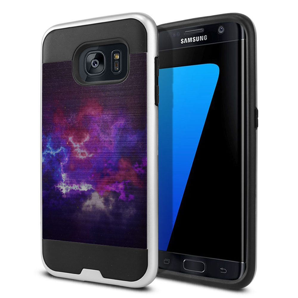 Samsung Galaxy S7 Edge G935 Hybrid Fusion Brushed Purple Nebula Space Protector Cover Case