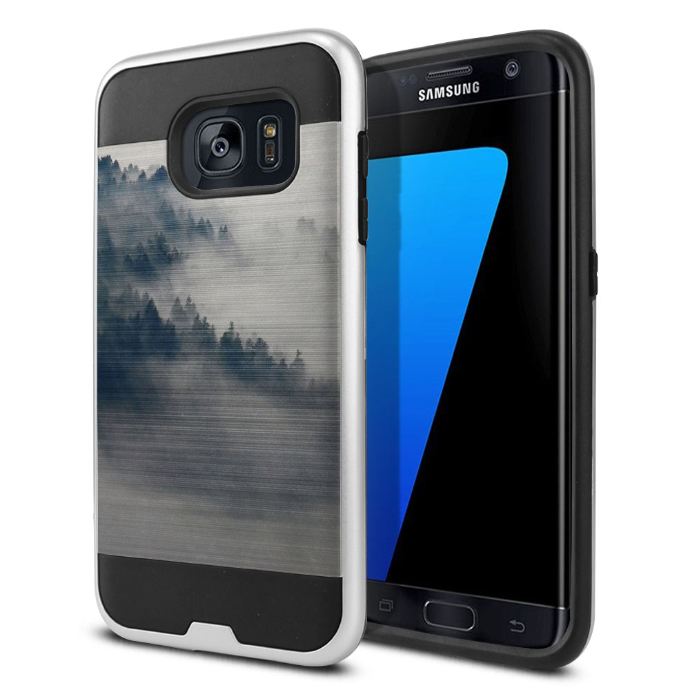 Samsung Galaxy S7 Edge G935 Hybrid Fusion Brushed Winter Trees Protector Cover Case