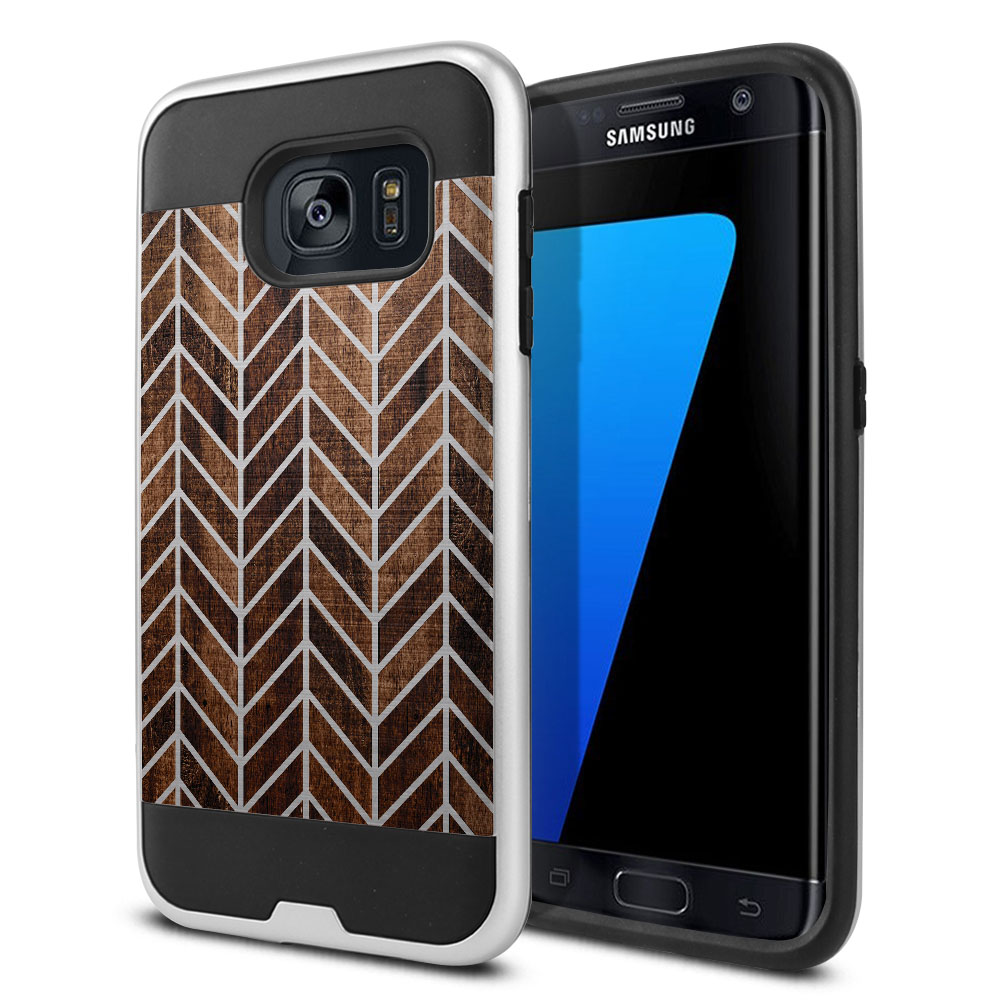 Samsung Galaxy S7 Edge G935 Hybrid Fusion Brushed Modern Chevron Wood Protector Cover Case