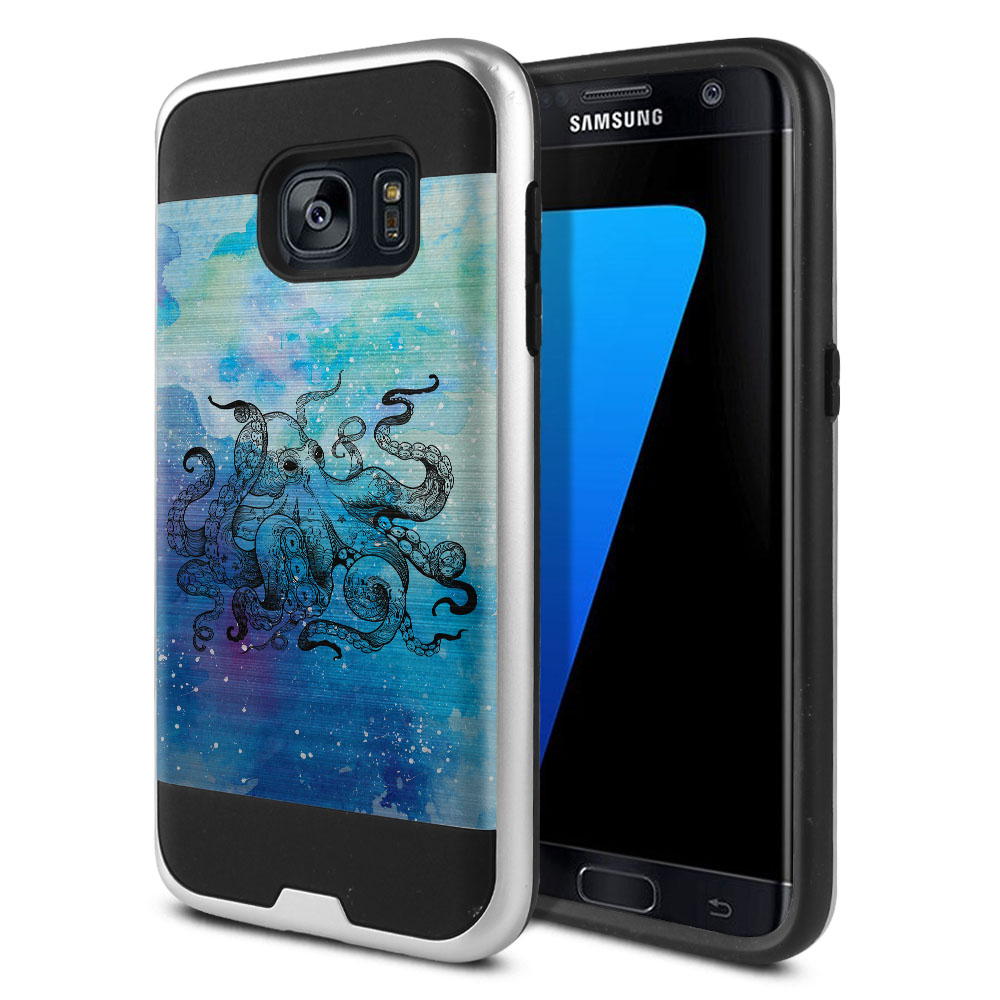 Samsung Galaxy S7 G930 Hybrid Fusion Brushed Blue Water Octopus Protector Cover Case