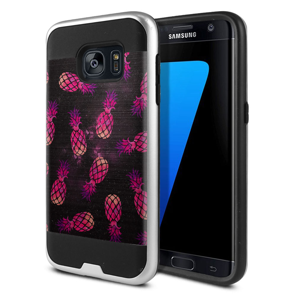 Samsung Galaxy S7 G930 Hybrid Fusion Brushed Hot Pink Pineapple Pattern In Galaxy Protector Cover Case