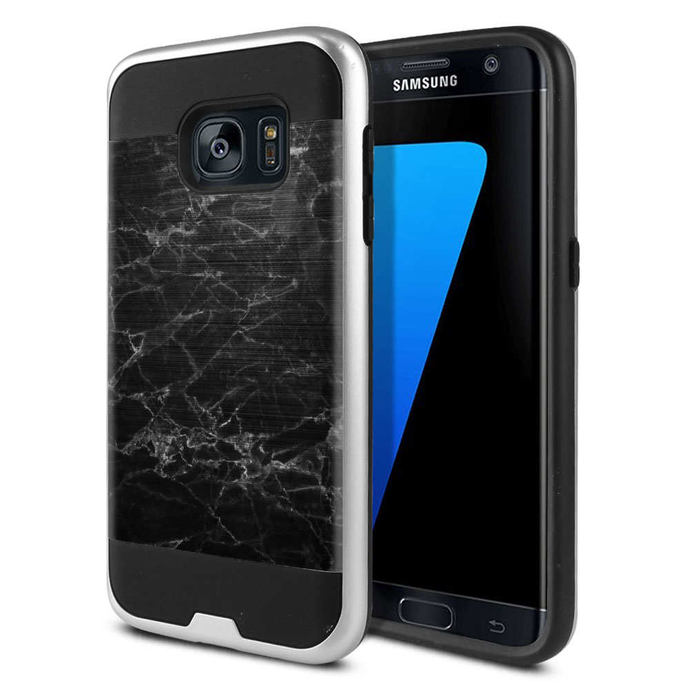 Samsung Galaxy S7 G930 Hybrid Fusion Brushed Black Stone Marble Protector Cover Case