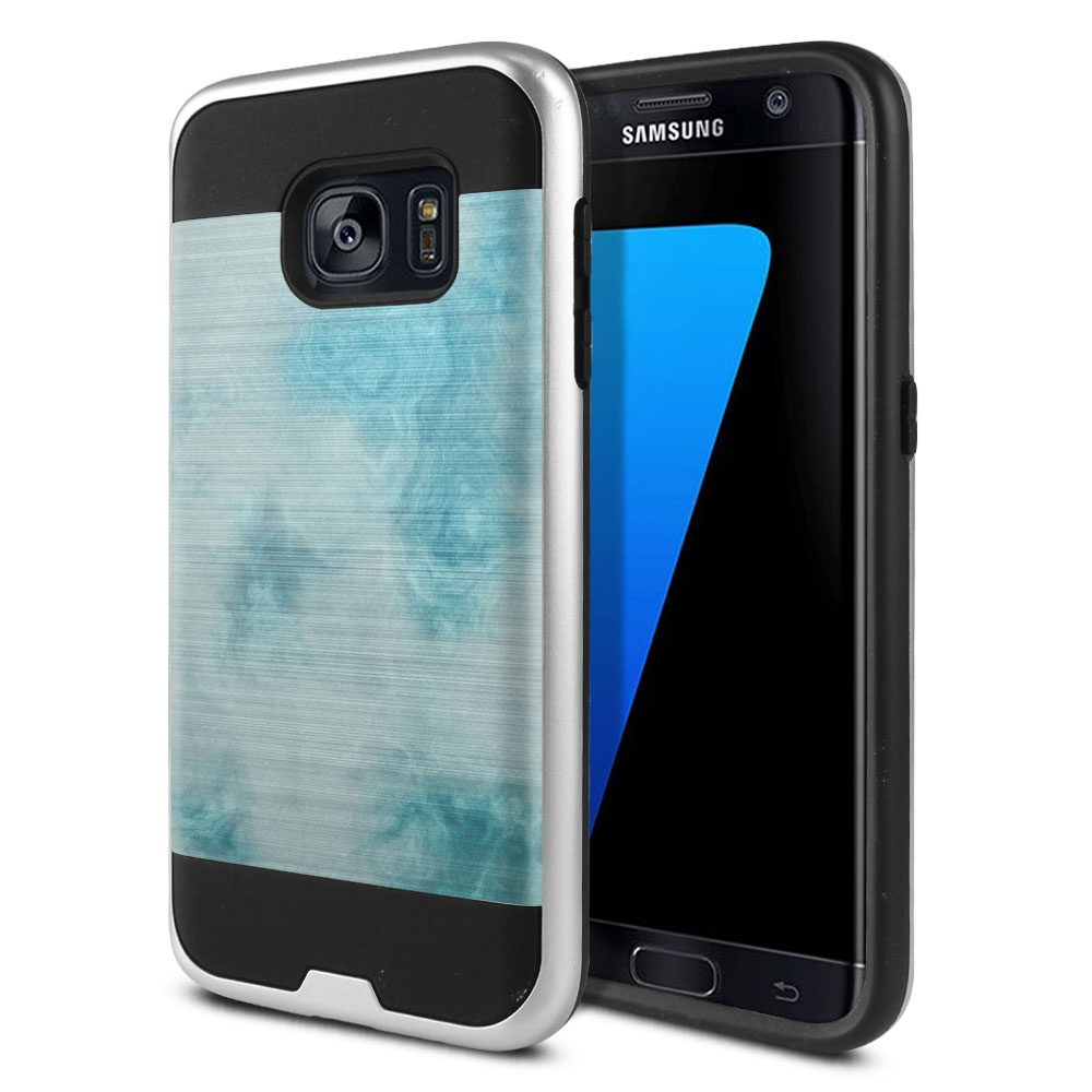 Samsung Galaxy S7 G930 Hybrid Fusion Brushed Blue Cloudy Marble Protector Cover Case